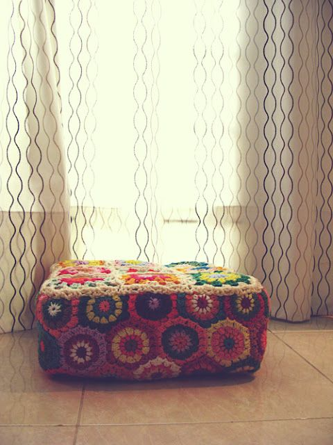 crochet ottoman | CostMad do not sell this idea/product but please visit our blog for more funky ideas