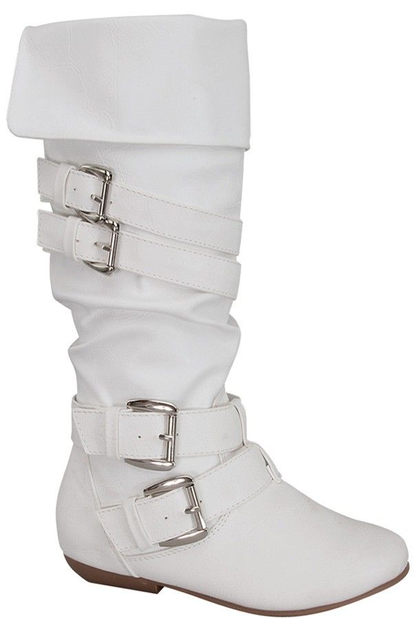 c170299ecb6 WHITE FAUX LEATHER STRAPPY BUCKLE KNEE HIGH BOOTS