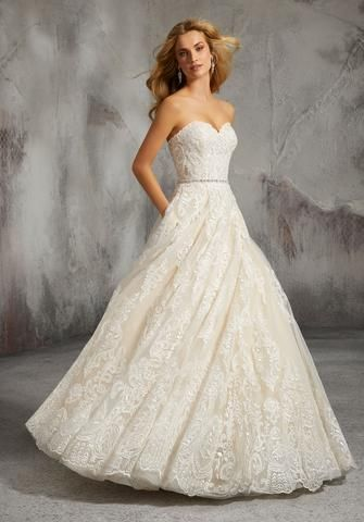 e08bc216f5 Morilee 8273 Lisa Strapless Embroidered Ball Gown Wedding Dress in ...