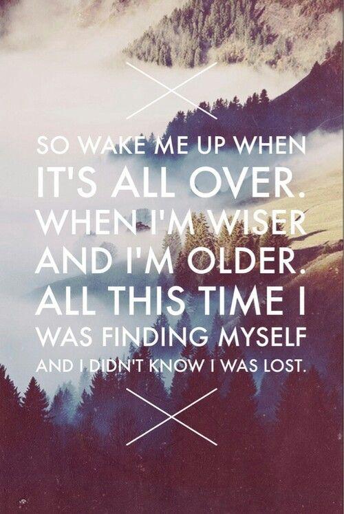 """""""Então me acorde quando isso tudo estiver acabado. Quando eu for sábio e velho. Todo este tempo eu estava me procurando e não sabia que estava perdido"""" Wake me Up - Avici"""