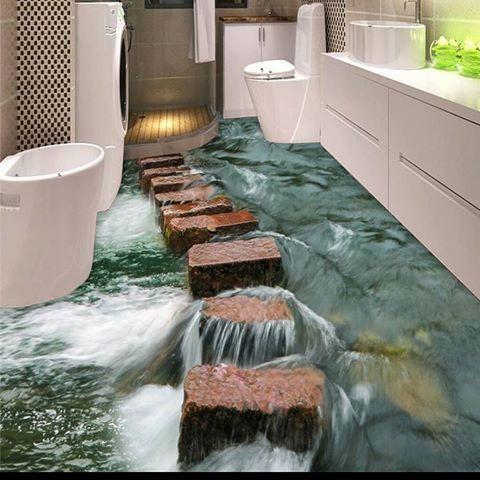 PVC podlaha 😆 😆 😆 Jak by se Vám líbila taková PVC  podlaha?  #koupelna #bathroom #podlaha #joke #3D #hradeckralove #cechy #bydleni #pohoda