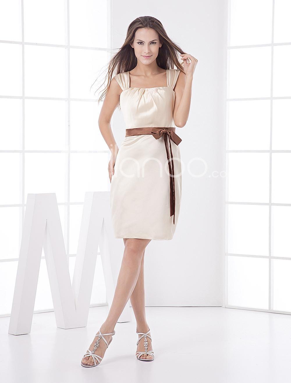 Aline champagne sash satin bridesmaid dress show off your curves