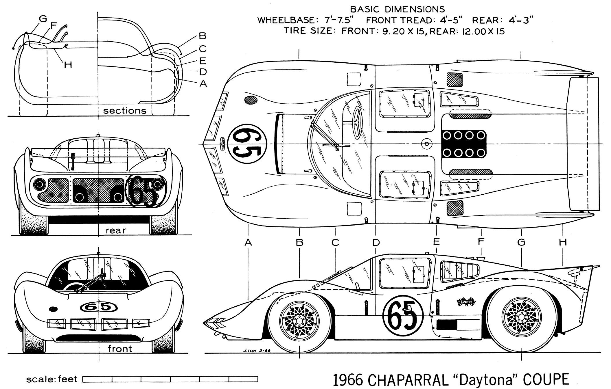 line drawing of the chaparral 2d as configured for daytona  1966