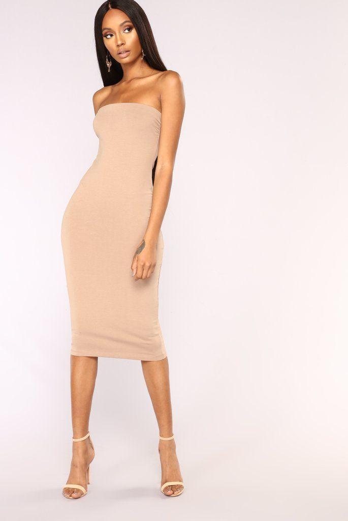 rhianna tube dress  taupe  fashion nova  dresses in