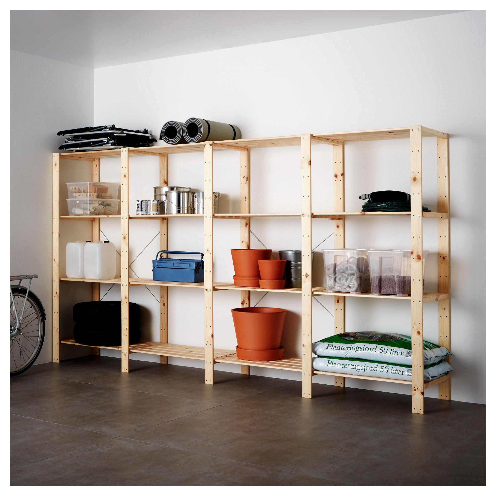 Hejne 4 Section Shelving Unit Softwood 120 7 8x19 5 8x67 3 8 Ikea Shelving Unit Shelving Ikea Hejne