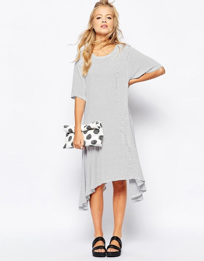 6fb44d231e74 We love how Monki styled this hanky hem stripe dress! Get the look at  ShopStyle!