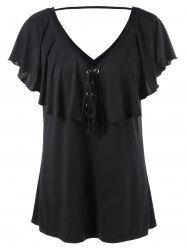 Plus Size V Neck Overlay Lace Up T-Shirt