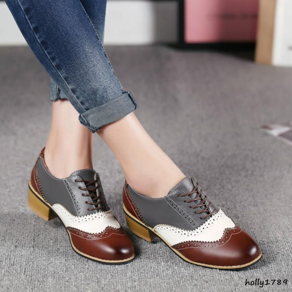 b68f45cf35 Details about Oxford Women Block Heel Lace Up WingTip Vintage Girls ...