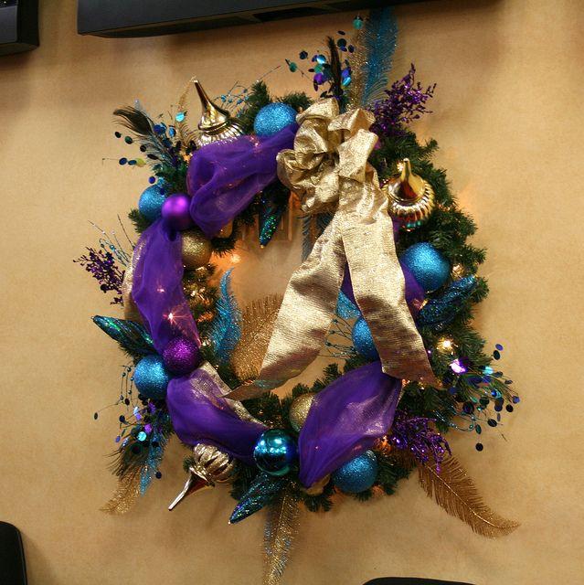 purpleandgoldchristmaswreathjpeg by ChristmasSpecialists, via