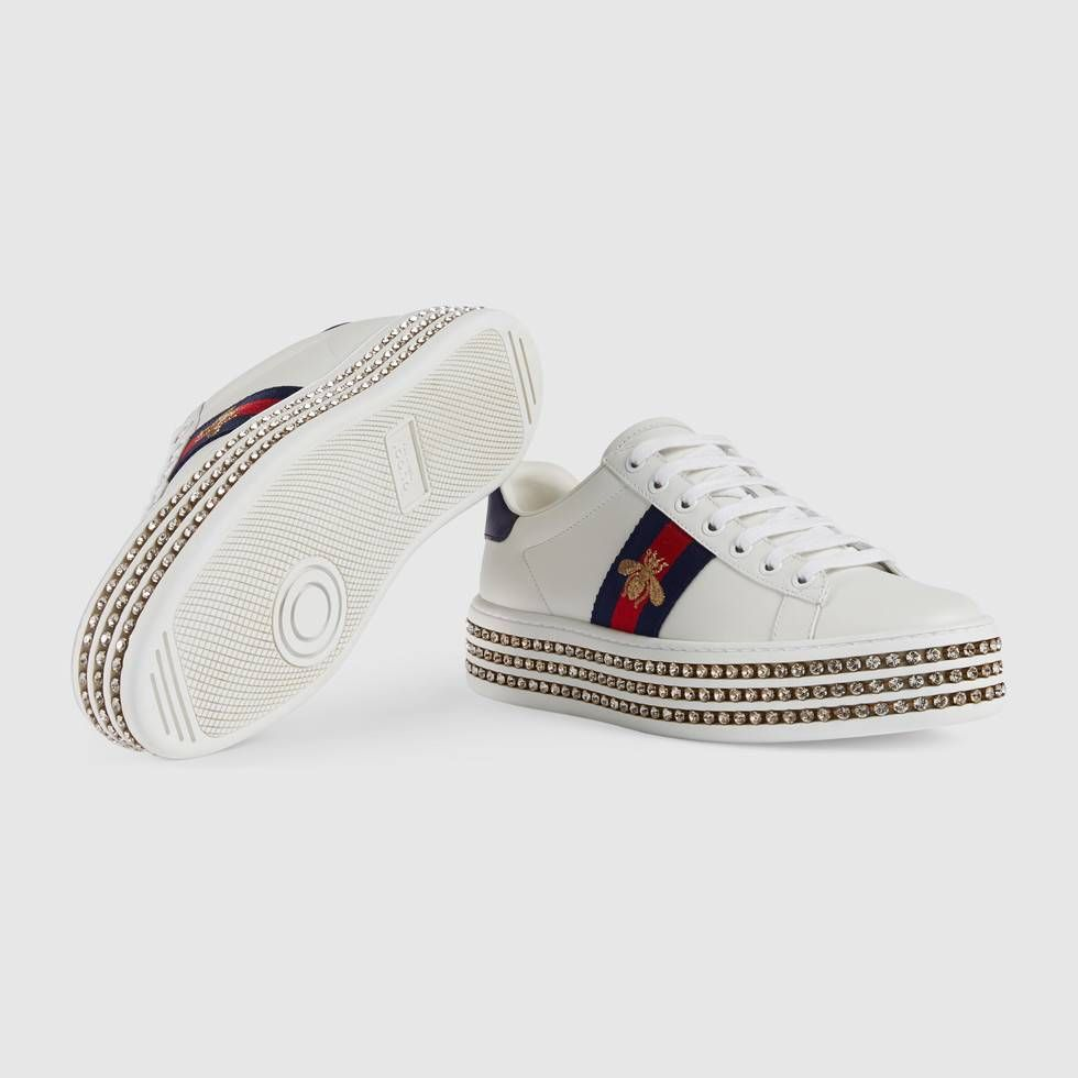 ea3161273fc Gucci Ace Sneaker With Crystals (16.098.455 IDR) ❤ liked on Polyvore  featuring shoes
