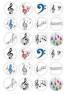 Photo of Details about 24 MUSIC NOTES CLEF CUPCAKE TOPPERS ICED ICING FAIRY CAKE BUN TOPPERS