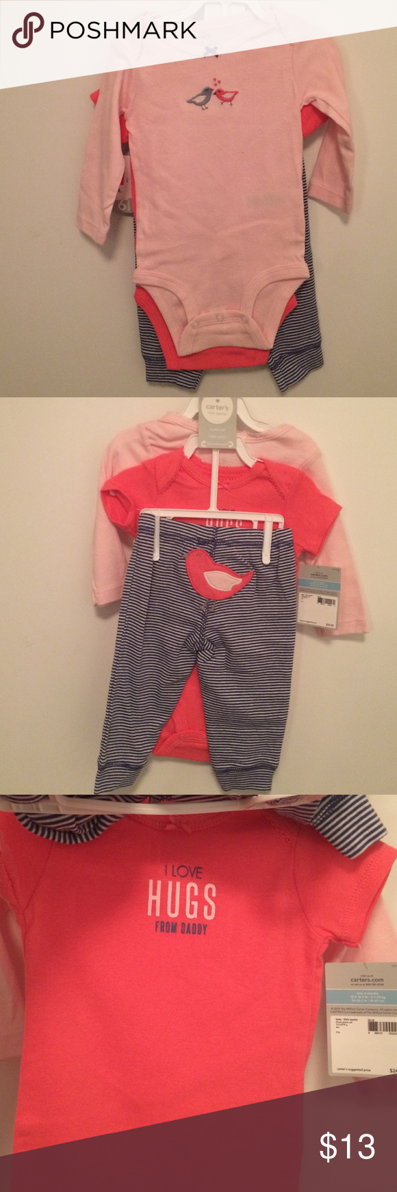 BNWT 3pc set from Carters. Size 6mos Selling this cute 3pc set from Carters size 6mos. BNWT Carter's Matching Sets