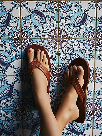Rainbow Flip Flop | Classic Rainbow flip flops featured in an allover luxe leather.  With a narrow strap, single layer arch support, and a non-slip sole.