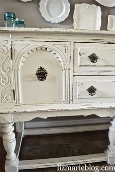 DIY chalk paint recipe- 1 tbsp. grout with  1 cup flat paint, sand after paint dries.