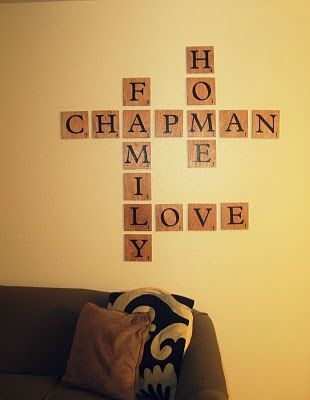 love this idea... scrabble wall decor! use scrabble letters to write ...