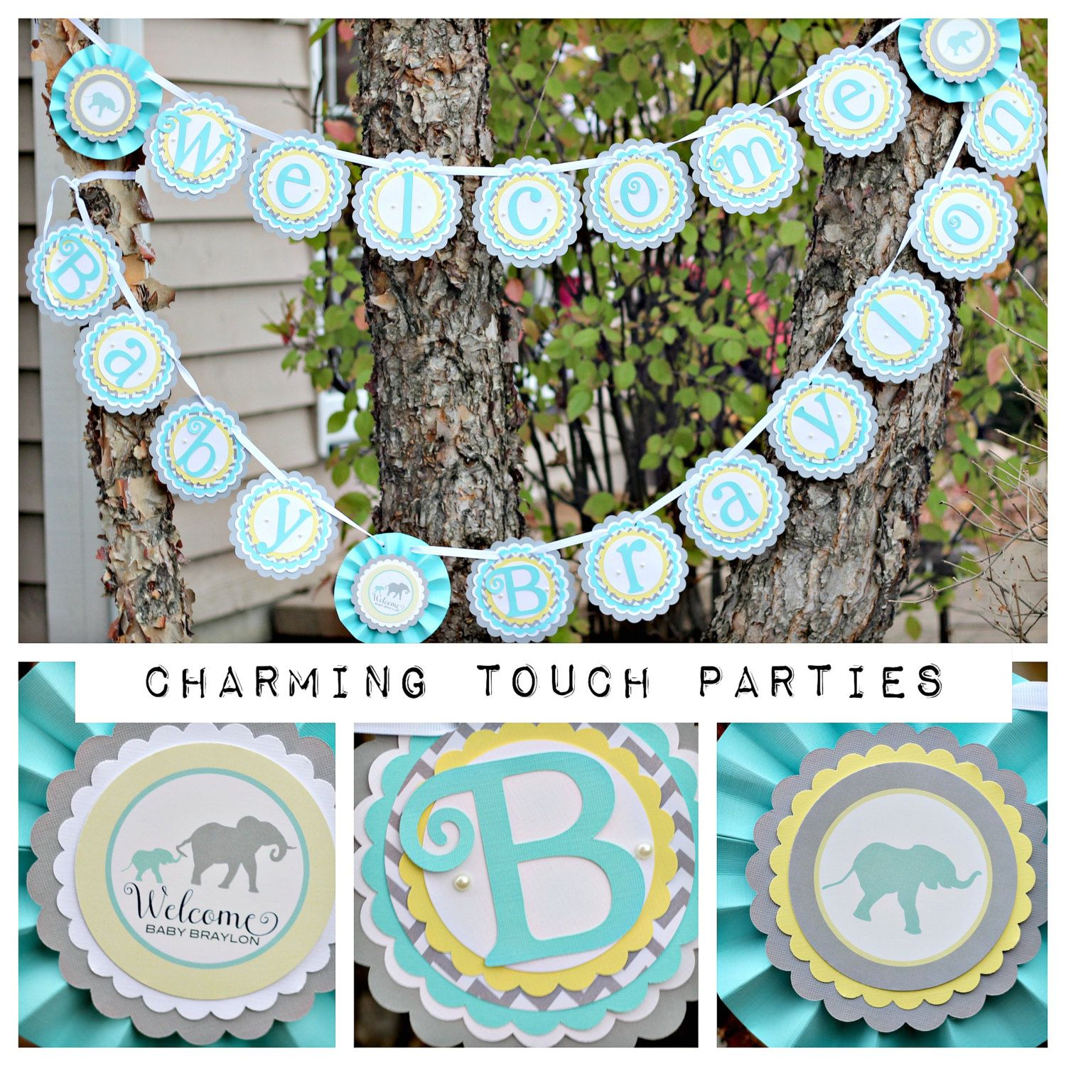 Elephant baby shower Welcome Baby Banner.  Fully assembled and customizable.  Boy / Girl shower.  Yellow, aqua, grey. by CharmingTouchParties on Etsy