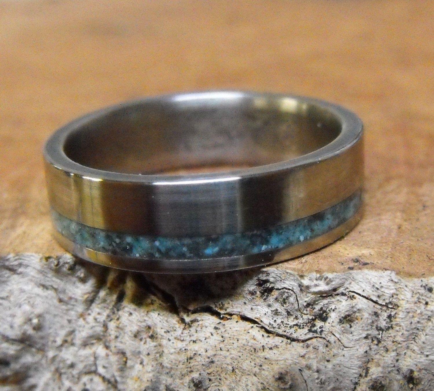 Wedding Band for Men Mens Titanium Ring Turquoise Ring