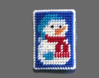 Handmade Needlepoint Plastic Canvas Gift Card Holder Snowman