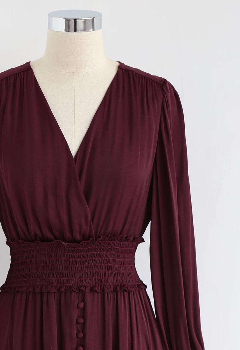 Satin Button Down Wrap Midi Dress In Wine Dresses Midi Dress Midi Dress With Sleeves [ 1200 x 823 Pixel ]