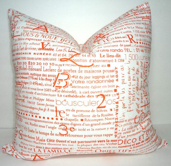 FALL Is COMING SALE Inventory Reduction Orange Newsprint French Text Inspiration What Size Insert For 18x18 Pillow Cover