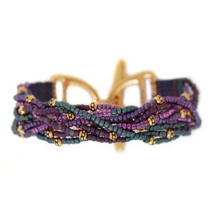 Twisted Peacock Bracelet |using half Tila beads. Free PDF from Fusion Beads.  This is a variant of flat square stitch, embellished  #Seed #Bead #Tutorials