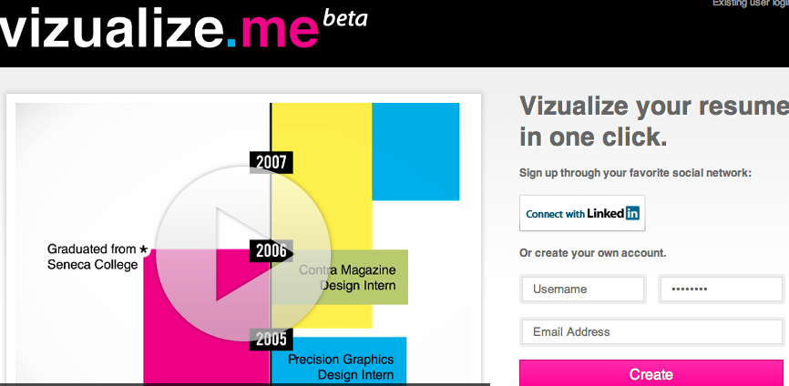 VISUALIZE.ME Create a visual resume'. Easy to create one