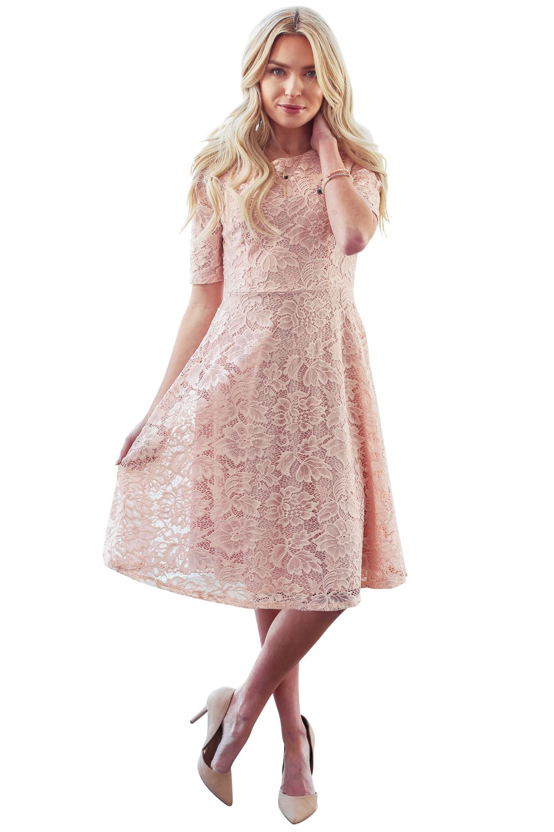 Sloan Modest Bridesmaid Lace Dress in Blush Pink | Beautiful Modest ...