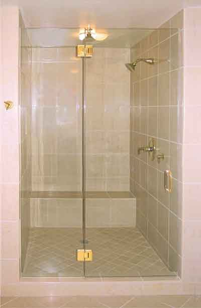 Frameless Shower Enclosure with Brass Hinges | Shower Door Systems ...