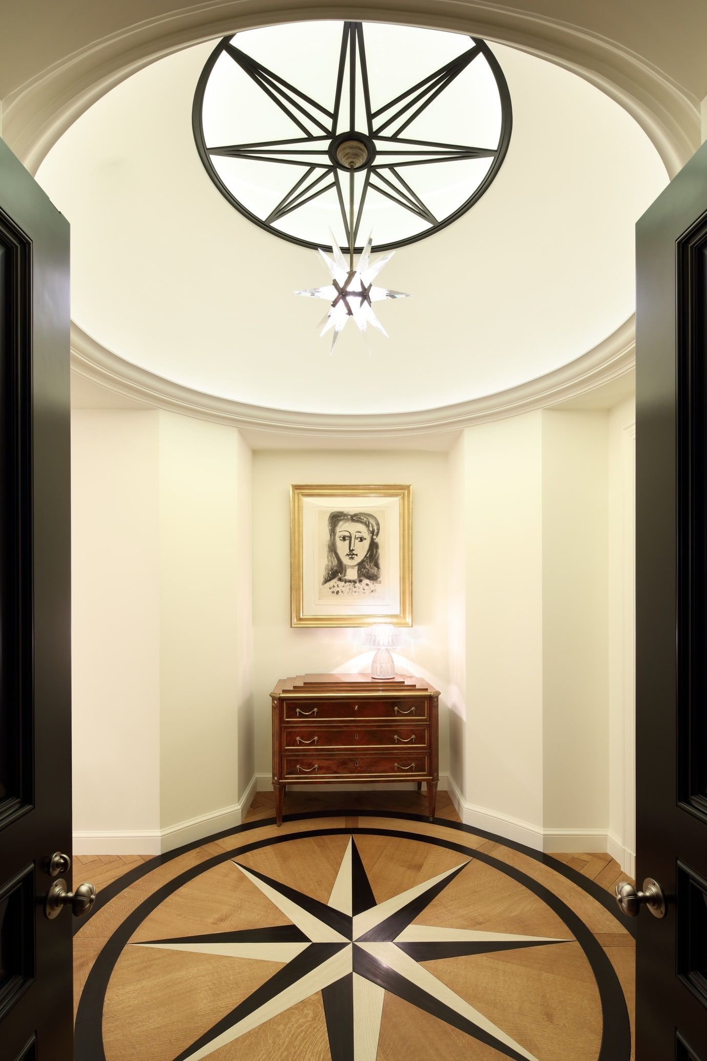 Art deco hallway lights  French Revival Beverly Hills Hallway Architectural Detail Art Deco