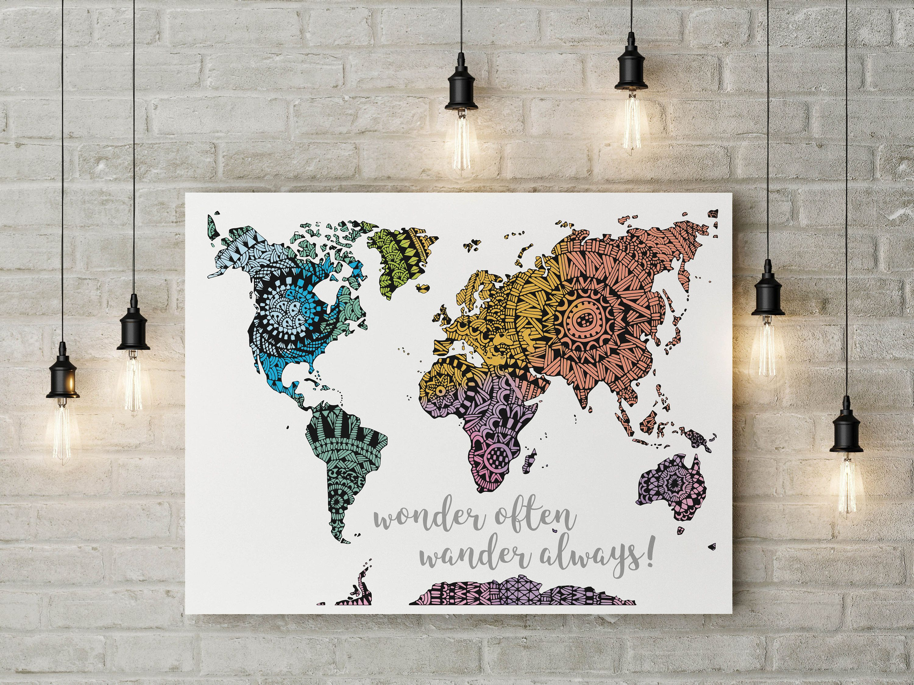 Colorful world map poster watercolor print world map print wall colorful world map poster watercolor print world map print wall art travel art adventurer gift anniversary gift traveler gift color gumiabroncs Gallery