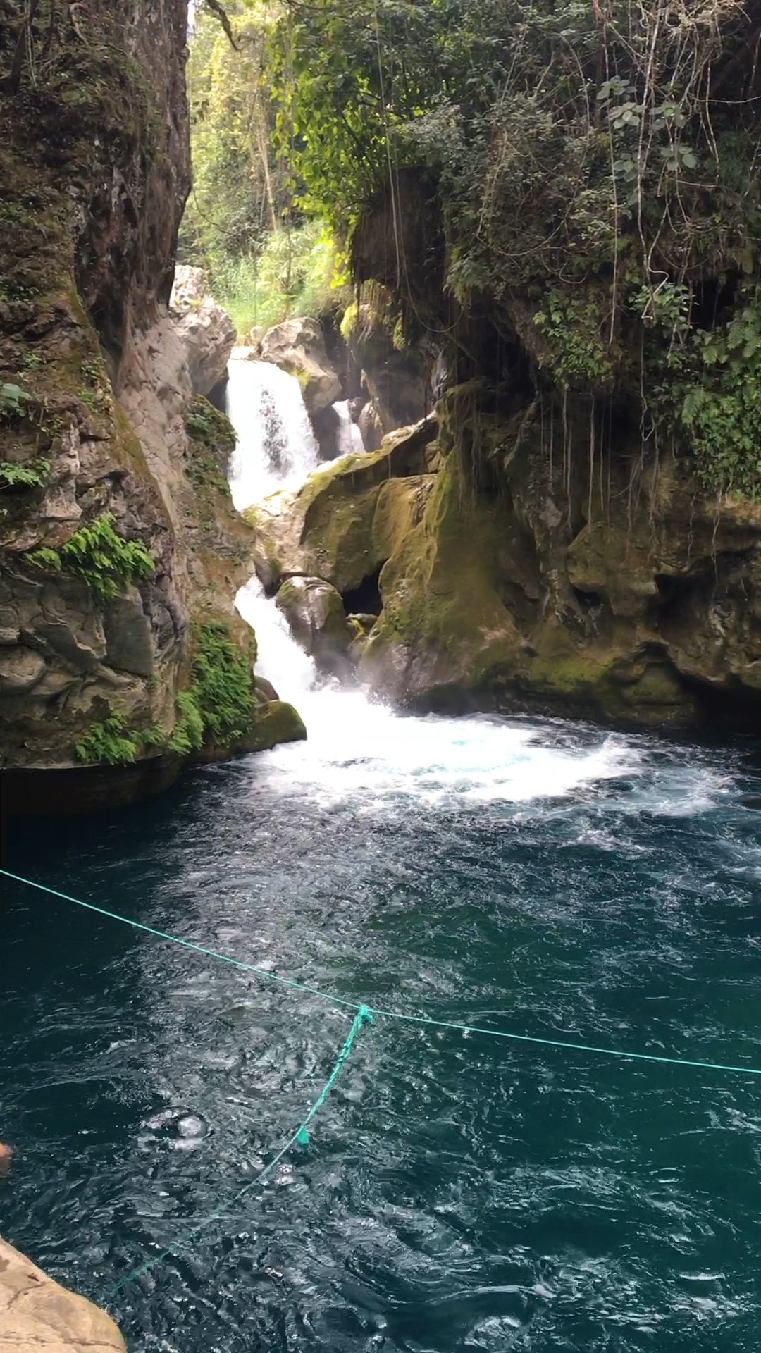 Puente De Dios swimming cenote and waterfall in La Huasteca Potosina, Mexico. Visit our travel guide to learn more about visiting this beautiful place!