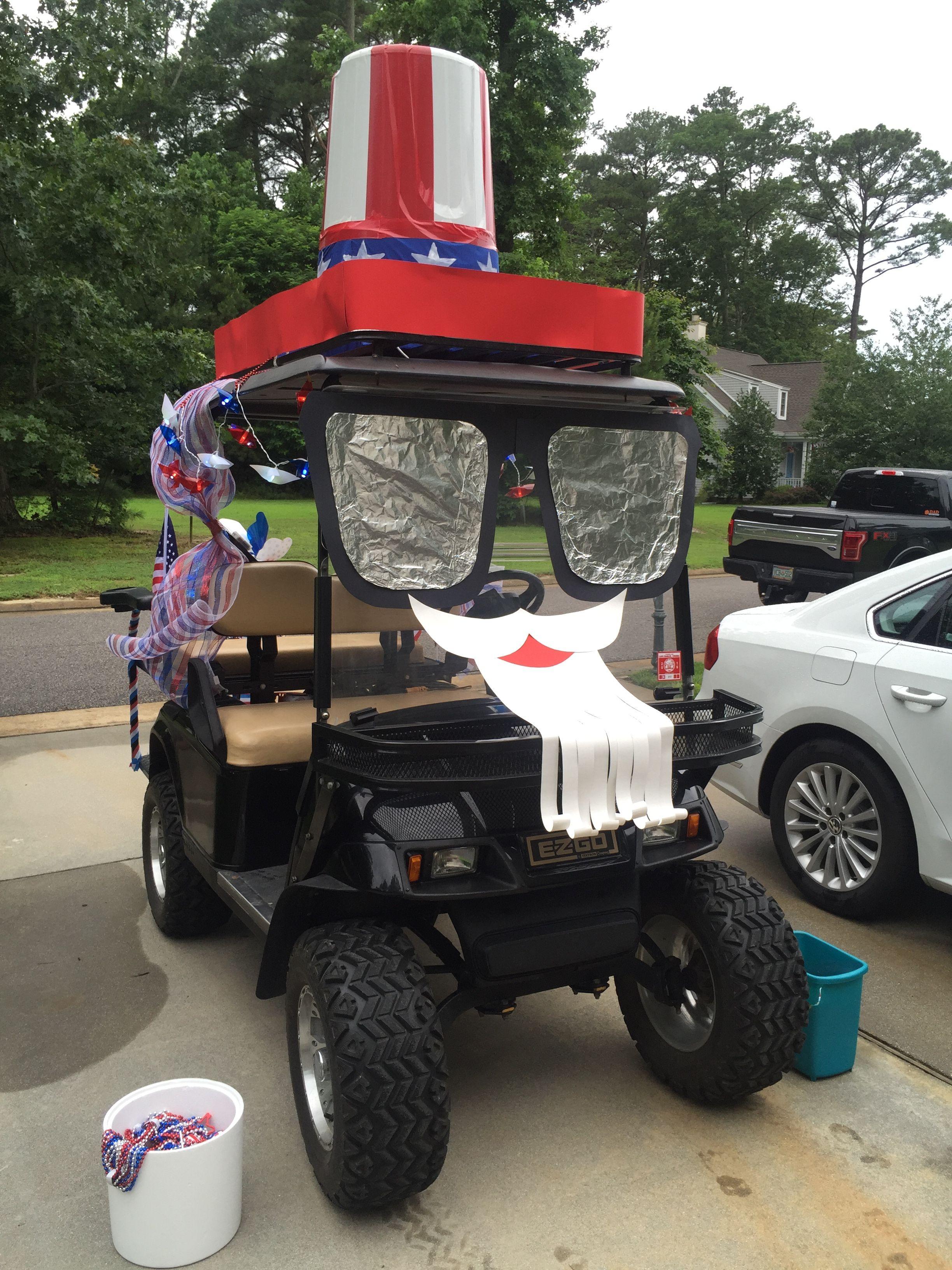 Uncle Sam golf cart decorating parade forth of July hat sunglasses beard 4206ad4e90b