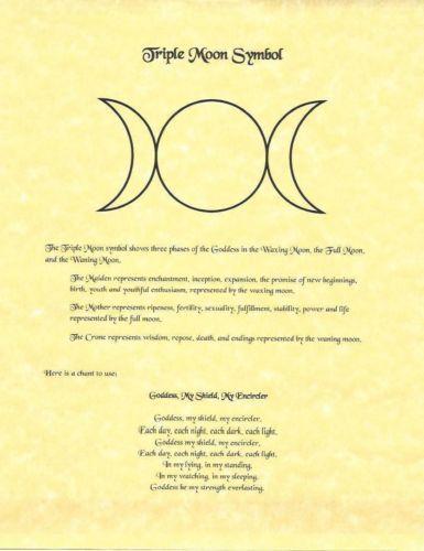 Book Of Shadows Page Triple Moon Symbol Goddess Chant