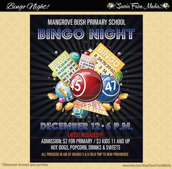Bingo Flyer \/ Bingo Night Poster \/ Template Church School - fundraiser template free