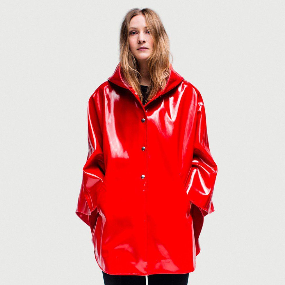 Red PVC Hooded Raincoat | Raincapes, Rainponcho's,... | Pinterest ...