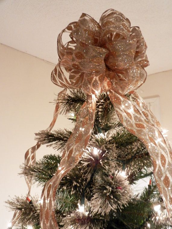 large sheer gold and silver glitter ribbon christmas tree topper bow and 12 ornament bows - Christmas Tree Bows