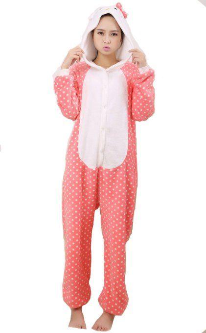 Amazon.com  Wantdo Hellokitty Cat Kigurumi-Adult Cosplay Costumes Pajama  PT-036  Clothing  39 9b835e520
