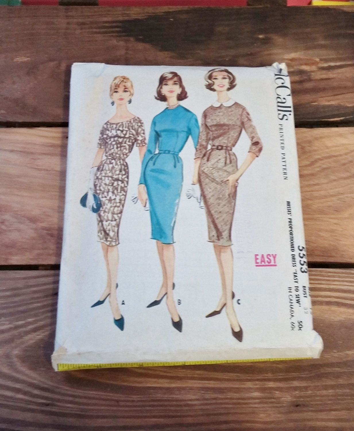 Vintage Pattern McCall's 5553 Misses Easy to Sew Dress 60's Mid Century Fashion Sewing Ephemera Illustration by OffbeatAvenue on Etsy