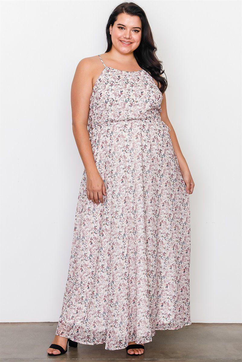 Plus Size Off White Floral Print Side Lace Up Maxi Dress Westcoastblu Curvy Size Dress Plus Size Party Dresses Plus Size Maxi Dresses [ 1200 x 801 Pixel ]