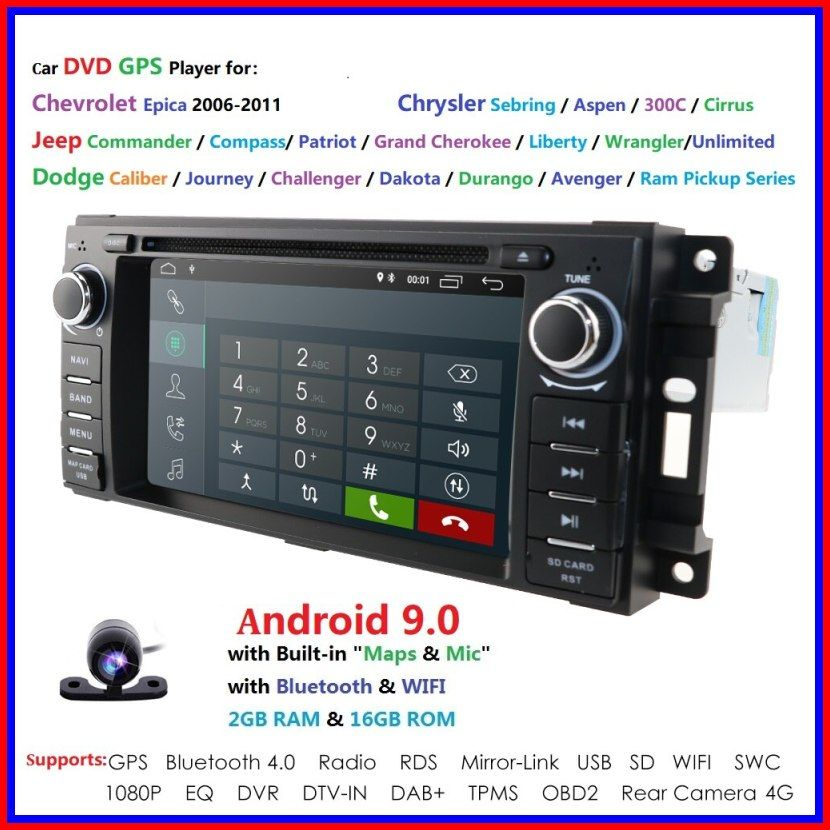 New Android 9 0 Hd 1024600 Head Unit Gps Navi Radio Stereo Car Dvd Player For Jeep Patriot Compass Dodge Journey Ch In 2020 Wrangler Car Chrysler Sebring Dodge Journey