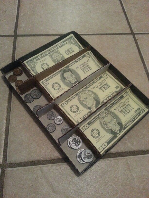 homemade cash register for my 3rd grader to practice counting money