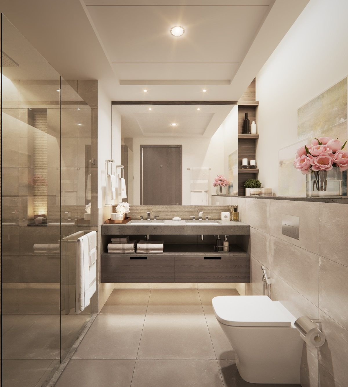 Modern Bathroom In Beige Colors Double Sink Bathroom Bathroom Sink Vanity Double Sink Bathroom Vanity [ 1333 x 1200 Pixel ]
