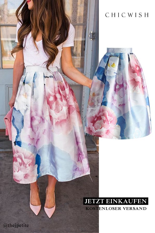 Blossom in watercolor printed midi skirt
