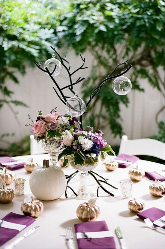Wedding table decor ideas purple and tree center pieces @weddingchicks