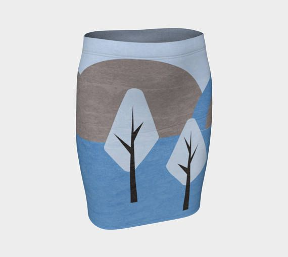 Simple design blue and brown fitted skirt, body-con skirt,
