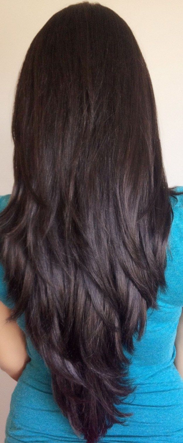 Long Straight Layered Hairstyles Back View Long Black Hair