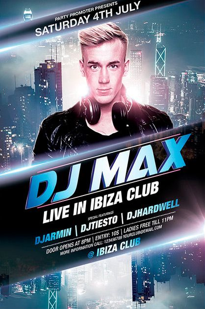 Free Dj Party Flyer Template  Plantillas    Dj Party