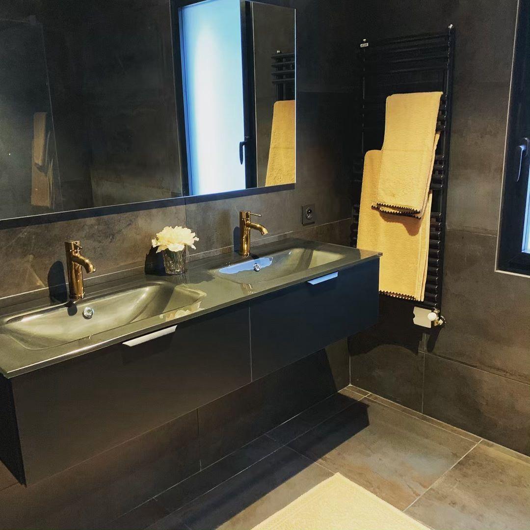 Les Salles De Bains D Ines On Instagram Salle De Bain Complete Realisee Par Les Salles De Bains D I Lighted Bathroom Mirror Bathroom Mirror Bathroom Lighting
