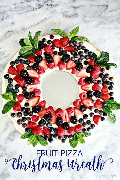 Fruit Pizza Christmas Wreath   Christmas snacks, Christmas ...
