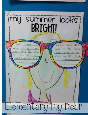 3d35b427810f My Summer Looks Bright! Includes template for sunglasses to write about  their summer plans and background page to draw themselves on